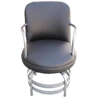 Art Deco / Machine Age Tubular Chrome Swivel Armchair For Sale