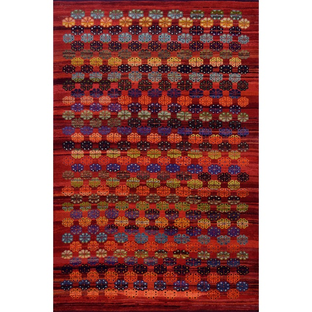 Mid 20th Century Vintage Floral Tomato-Red Handwoven Wool Turkish Rug For Sale - Image 9 of 9