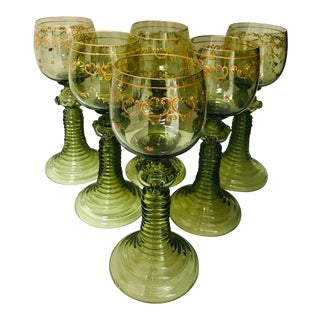 Vintage Hand Blown Green Gilded Goblet -Set of 6 Roemers For Sale