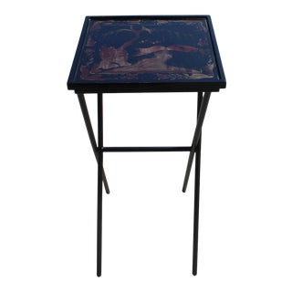 Matte Gold Black Graphic Square Tray Table Cross Metal Leg Base For Sale