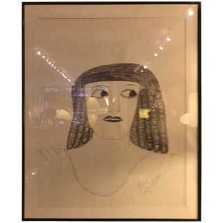 Lee Godie Outsider Art Ink Portrait For Sale