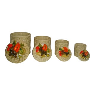 1960s Lefton Italian Hand Painted Basket Weave Veggie Top Canister Set- 4 Pieces For Sale