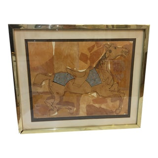 1958 Mid-Century Ron Decker Mixed Media Horse Artwork Framed For Sale