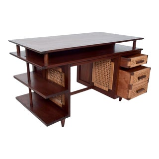Mexican Modernist Solid Mahogany & Seagrass Panel Desk After Clara Porset For Sale