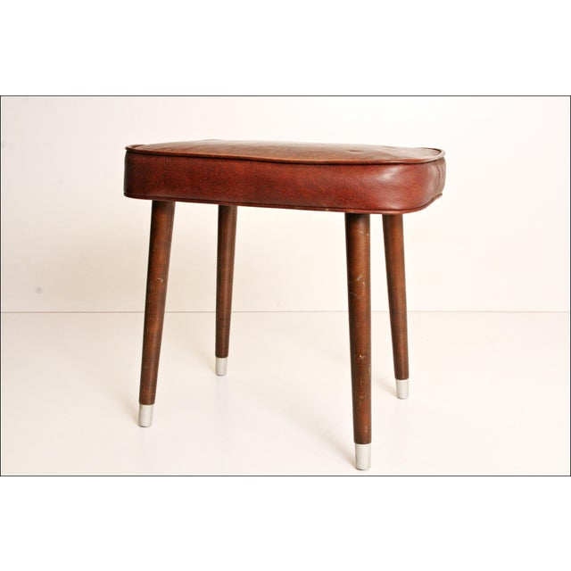 Mid-Century Brown Vinyl Foot Stool - Image 7 of 8