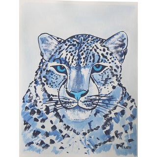Blue and White Leopard Painting by Cleo Plowden For Sale