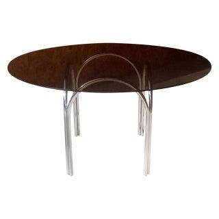 Milo Baughman Style Smoked Glass & Chrome Table