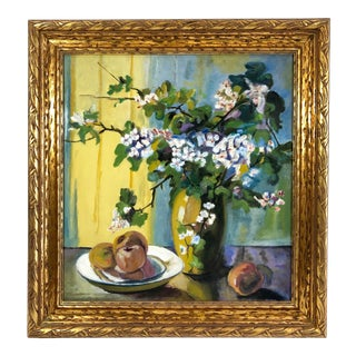 1935 Vintage Oil on Canvas Still Life with Blossoms and Fruit Gilt Wood Framed Painting For Sale