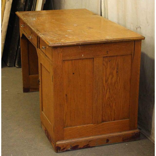 Restorable Oak Wood Library Desk - Image 6 of 8