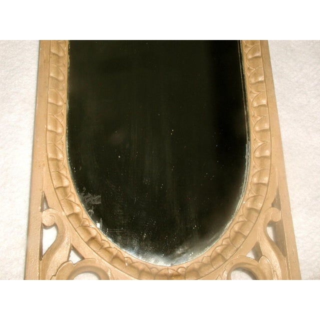 Glass Antique 19th C. Petite Carved Wooden Arched Mirror For Sale - Image 7 of 7