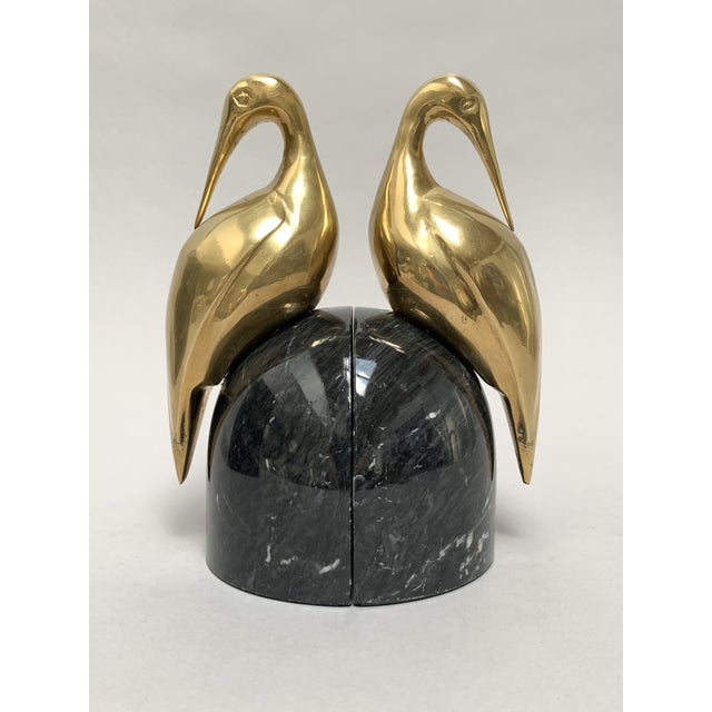 Art Deco Brass and Marble Egret or Crane Bookends – a Pair For Sale - Image 13 of 13