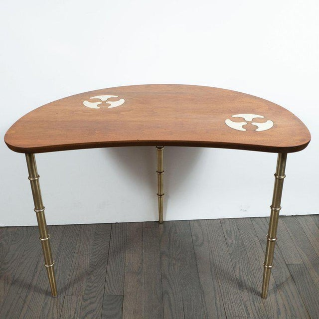 Gold Mid-Century Organic Inlaid Brass & Walnut Bowfront Side/End Table by Mastercraft For Sale - Image 8 of 10