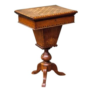 1850s Sewing Box Game Table For Sale