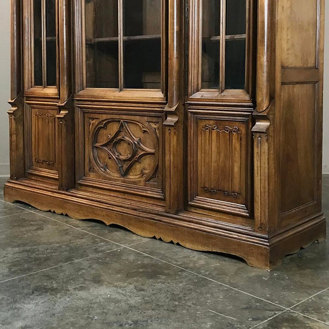 19th Century Gothic Walnut Triple Bookcase For Sale - Image 10 of 12