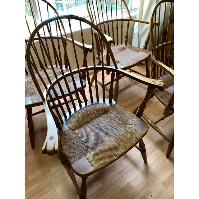 Wood 1920 Barnard & Simonds Rochester NY Windsor Chairs - Set of 4 For Sale - Image 7 of 11