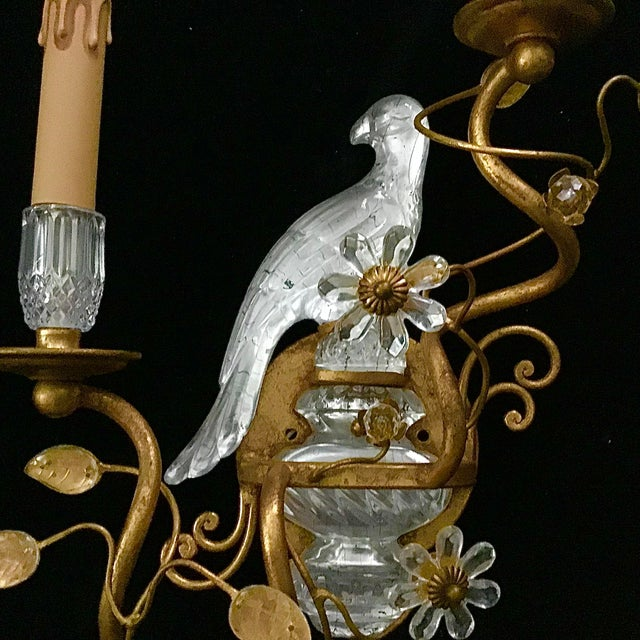Pair of Bagues Style Glass Bird Form Sconces For Sale - Image 4 of 10