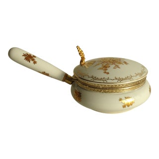 Mid Century Porcelain Silent Butler With Gold Roses For Sale