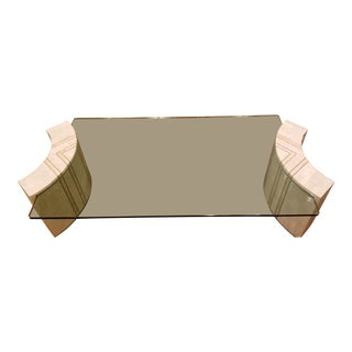 Maitland Smith Tessalated Stone and Glass Coffee Table C. 1980 For Sale