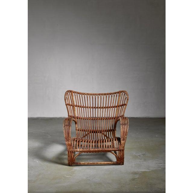 1930s Viggo Boesen Bamboo Lounge Chair for e.v.a. Nissen, Denmark, 1930s For Sale - Image 5 of 6