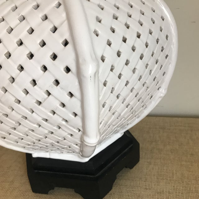 White Faux Bamboo Table Lamp For Sale - Image 4 of 11