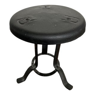 Antique Black Metal Vintage Milking Stool For Sale