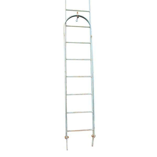 Sturdy vintage steel ladder with extension. Salvaged from a 20th century building. The condition is sturdy. It is just...