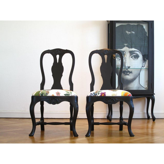 Mid-Century Modern Svenskt Tenn Rococo Chairs With Josef Frank Fabric - a Pair For Sale - Image 3 of 6