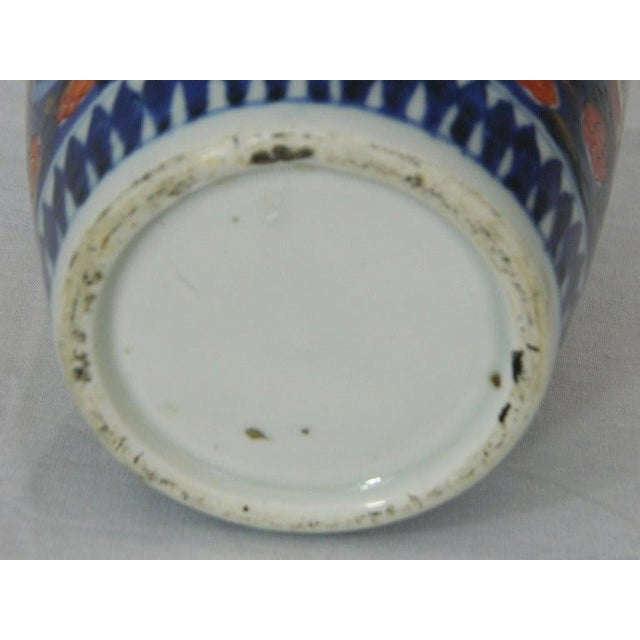Ceramic Pair of Imari Vases Depicting Floral Decorations on Stands, 19th Century For Sale - Image 7 of 8