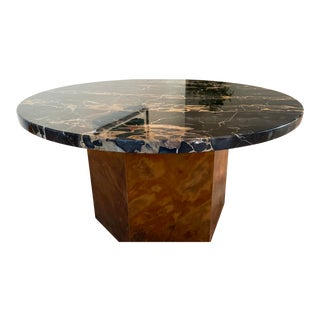 1970s Vintage Black Marble and Burled Wood Veneer Coffee Table Milo Baughman Inspired For Sale