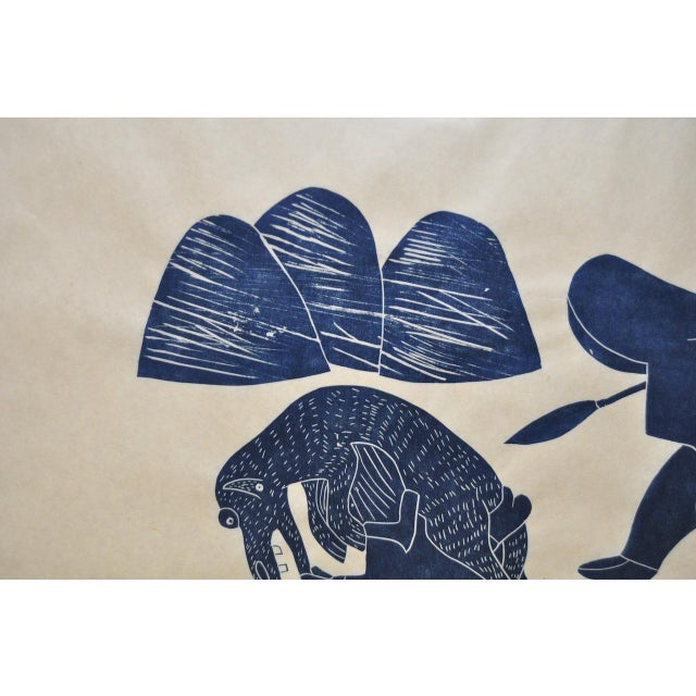 "Helen Kalvak Inuit Western Arctic ""Capture of Wolf"" Silkscreen c.1969 For Sale - Image 5 of 9"