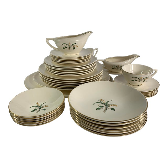 Vintage Forsythia Pattern by Edwin Knowles China Company Dinnerware - 47 Piece For Sale