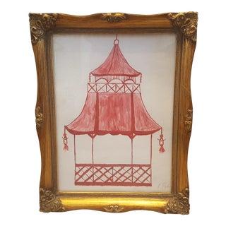 Original Chinois Pagoda Acrylic Painting Framed and Signed