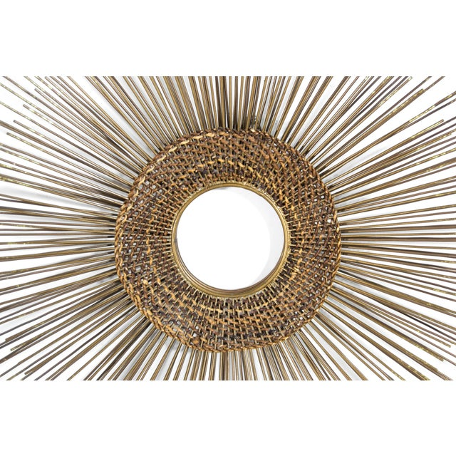 Gold 1950s Woven Sunburst Wall Sculpture For Sale - Image 8 of 9