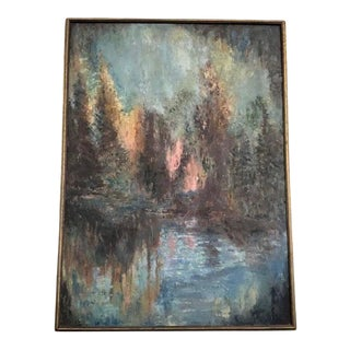 Mid 20th Century Abstract Mountain Landscape Oil Painting, Framed For Sale