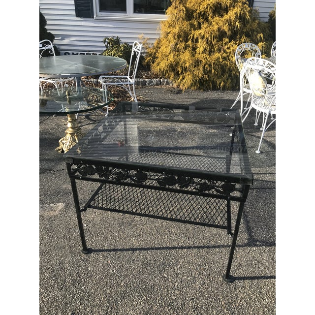 Art Nouveau Square Glass Top Iron Outdoor Table For Sale - Image 3 of 7