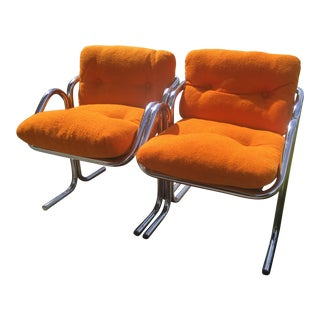 1970s Mid Century Modern Jerry Johnson for Landes Arcadia Orange Lounge Chairs - a Pair