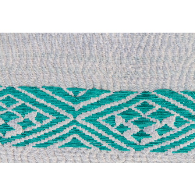 Cotton Madhuri Carved Chakki Kantha Ottoman With Kantha Fabric Uphosltery For Sale - Image 7 of 12