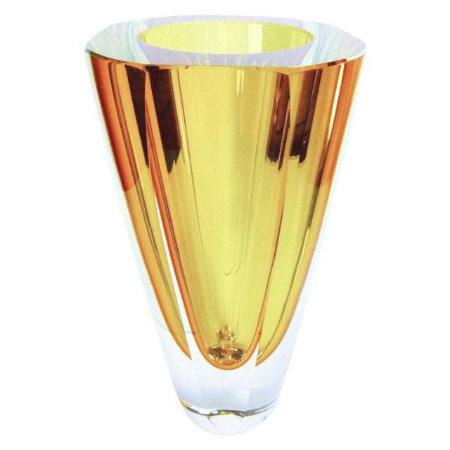 Seguso Vetri d'Arte Large Amber Murano Glass Vase by Flavio Poli For Sale - Image 4 of 4