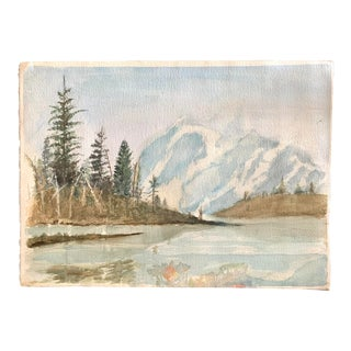 Mountain Lake Watercolor Painting For Sale