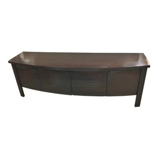Contemporary Sligh Dark Coffee Slatted Carved Slats Sideboard Credenza For Sale