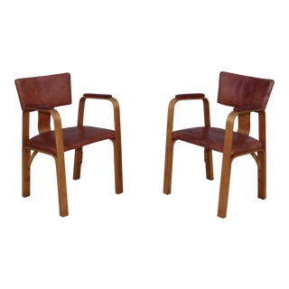 1940's Thonet Bentwood Armchairs With Distressed Leather Upholstery For Sale