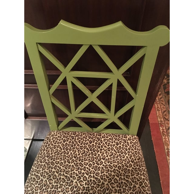 Custom Chinese Chippendale Green Chairs - Set of 10 - Image 9 of 11