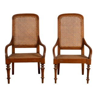 Dutch Colonial Javanese Armchairs with Woven Rattan Seats and Backs - A Pair For Sale