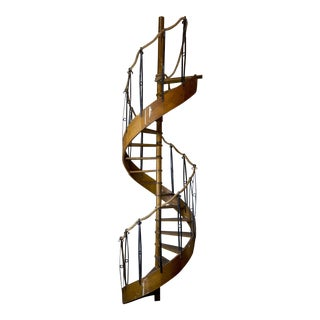 1930's Wood Spiral Staircase With Wrought Iron Balusters and Rope Railing For Sale