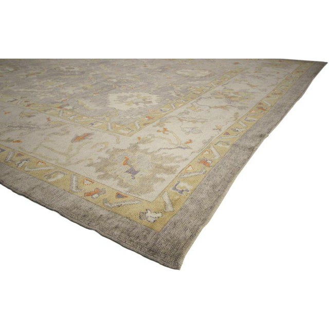 52371 Contemporary Modern Style Turkish Oushak Area Rug with Neutral Warm Colors 11'04 x 13'10. This hand knotted wool...