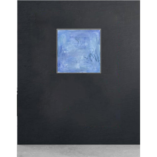 """Canvas """"Blue Zen"""" by Trixie Pitts Abstract Oil Painting For Sale - Image 7 of 13"""