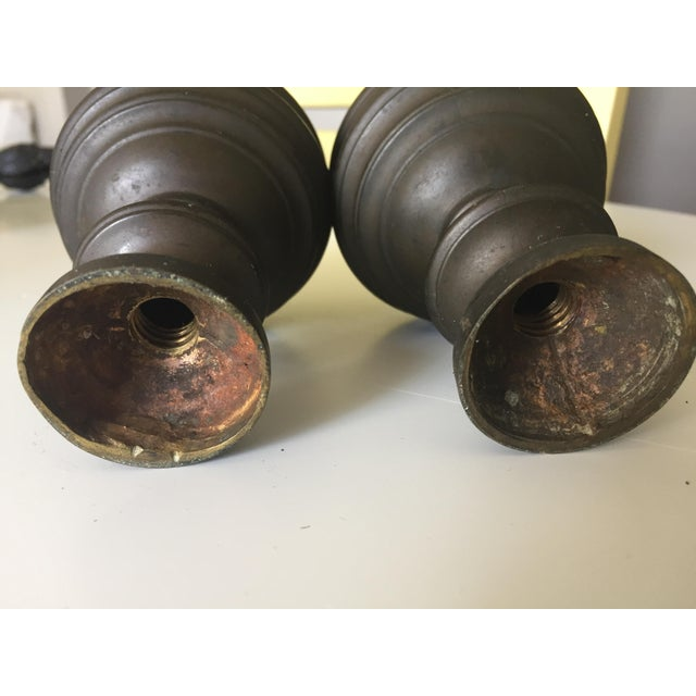 Mid 19th Century Antique Patinated Copper Ball Finials - a Pair For Sale - Image 5 of 7