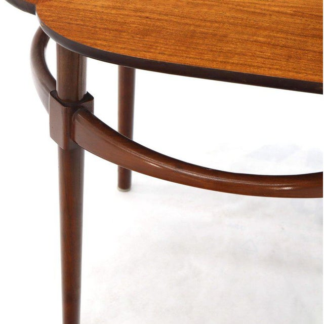 Adrian Pearsall Pair of Clover Shape Tile and Walnut Top Round End Side Occasional Tables For Sale - Image 4 of 13