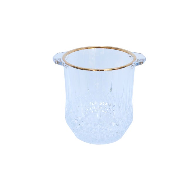 Mid 20th Century Cut Glass Champagne Bucket & 4 Champagne Flutes For Sale - Image 5 of 9