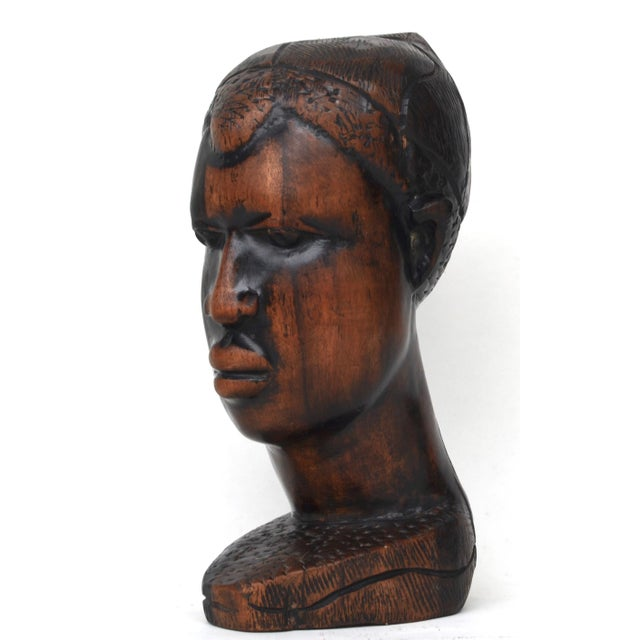 African Mid Century African Wood Carved Head For Sale - Image 3 of 10